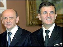 President of Serbia and Montenegro Svetozar Marovic (right) and  Muslim member of Bosnian tripartite Presidency Suleiman Tihic