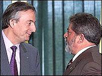 Néstor Kirchner y Luiz Inácio