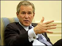 George Bush speaking to UK reporters in the Oval Office of the White House