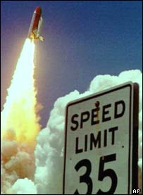 Space Shuttle takes off, AP