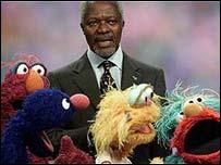 Kofi Annan with Muppets