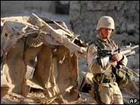 A US soldier is on guard near Bagram airbase