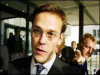 James Murdoch leaves the QE2 conference centre