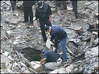 Investigators examine crater outside Neve Shalom synagogue