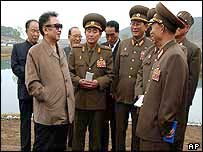 North Korean leader Kim Jong-il (left) with top generals