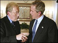 President Bush meets interviewer Sir David Frost