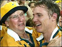 Maureen Larkham celebrates the win with her son Stephen