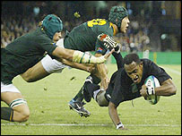 New Zealand scoring try against S Africa, Rugby World Cup