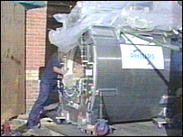 A MRI scanner's 4.4 ton superconducting magnet