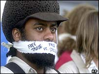 An anti free trade protester