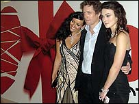Hugh Grant with co-stars Martine McCutcheon (left) and Keira Knightley