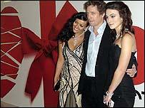 Hugh Grant with co-stars Martine McCutcheon (left) and Keira Knightley