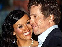 Martine McCutcheon and Hugh Grant at Love Actually premiere