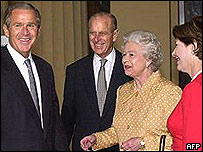 President and Mrs Bush meet the Queen and Prince Philip during their last visit to the UK in 2001