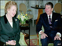 Thatcher and Reagan at Claridges in London