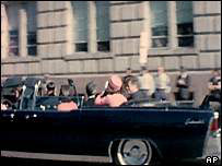 President John F Kennedy in an open top car the day he was shot