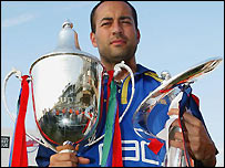 Adam Hollioake with the Twenty20 Cup and the National League trophy
