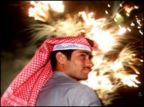 Kuwaiti celebrating the tenth anniversary of the liberation 
