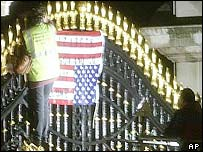 Female protester on the gate of Buckingham Palace