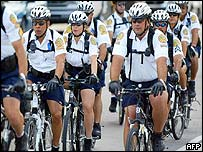 Police on bikes preparing for the FTAA talks