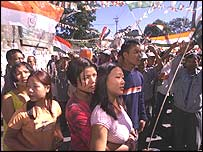 Young Mizo Congress supporters at election rally in Aizawl, Mizoram capital