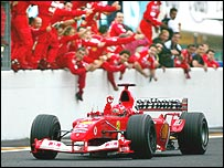 Michael Schumacher wins the Formula One title at the Japanese Grand Prix