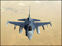 US F-16C fighter over central Iraq (Picture: US Central Command)