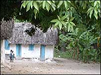 Huts in Haitian countryside