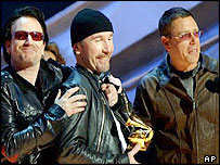 U2 collecting an award