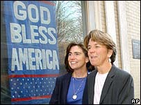 Julie, left, and Hillary Goodridge after the court ruling