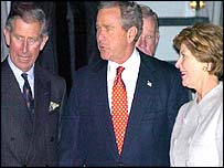 Prince Charles, George and Laura Bush