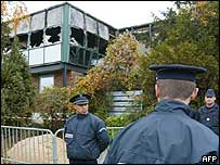 Aftermath of attack on Jewish school in Paris suburb, November, 2003
