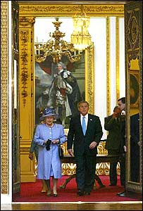 Queen Elizabeth and President Bush in Buckingham Palace.  Photo via BBC News.  Click to read the BBC story: Bush sets out 'mission for freedom.'