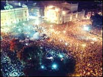 Belgrade crowds celebrate Milosevic overthrow