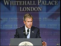 George Bush speaking in London on his foreign policy