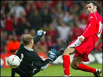 Ryan Giggs beats the keeper - but not the post