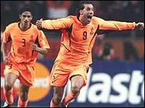 Ruud van Nistelrooy celebrates in Amsterdam
