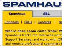 Spamhaus homepage, BBC