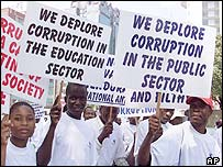 Demonstrators against corruption in Harare