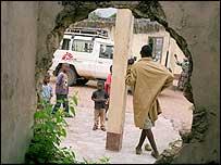 MSF truck seen through a shell hole (photo: Tom Craig)