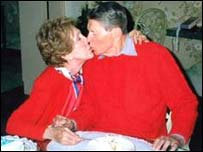 Ronald and Nancy Reagan on the former president's 89th birthday, in 2000