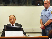 General Stanislav Galic sits in the international law court prior to hearing his verdict