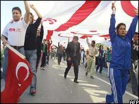 Turkish Cypriots during ceremonies marking the 20th anniversary of the self-declared Turkish Republic of Northern Cyprus in November