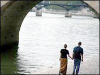 Couple by the banks of the Seine