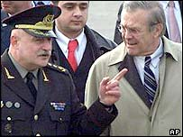 Georgian Defence Minister David Tevzadze (left) and Donald Rumsfeld