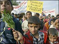 Children at Friday's peace demonstration in Baghdad