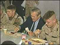 Rumsfeld having breakfast with troops in Kirkuk