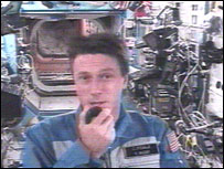 Astronaut Michael Foale in a satellite link-up from the International Space Station, orbiting the Earth at 17,000 mph (27,358.1 km/h), to BBC One's Breakfast With Frost programme