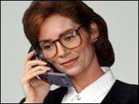 Female executive on mobile phone