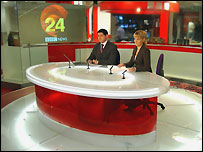 BBC News 24's Jon Sopel and Louise Minchin